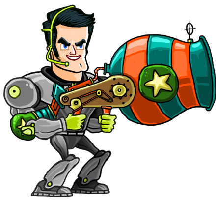 Tap Busters Hero with his trusty gun